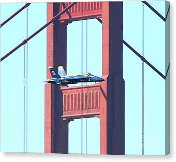 Blue Angels Crossing The Golden Gate Bridge 10 Canvas Print by Wingsdomain Art and Photography