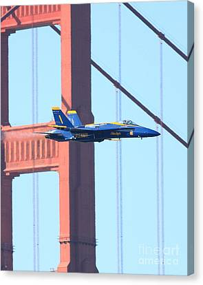 Blue Angels Crossing The Golden Gate Bridge Canvas Print by Wingsdomain Art and Photography