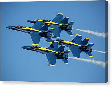 Canvas Print featuring the photograph Blue Angels Diamond Formation by Adam Romanowicz