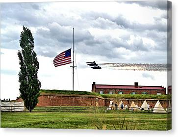 Blue Angels Fly Over Fort Mc Henry 2014 Canvas Print by Wayne Higgs