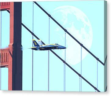 Blue Angels Golden Gate And Moon Canvas Print by Wingsdomain Art and Photography