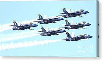 Blue Angels Hornet F18 Supersonic Jet Airplane . 7d2672 Canvas Print by Wingsdomain Art and Photography