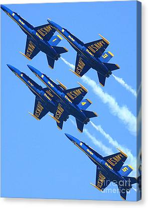 Blue Angels Leaving A White Trail Canvas Print by Wingsdomain Art and Photography
