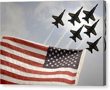Blue Angels Soars Over Old Glory As They Perform The Delta Formation Canvas Print by Celestial Images