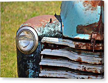 Blue Antique Chevy Grill- Fine Art Canvas Print by KayeCee Spain