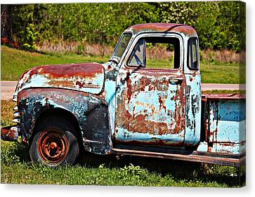 Blue Antique Chevy Truck- Fine Art Canvas Print by KayeCee Spain
