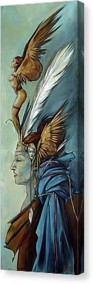 Blue Art Deco Indian Headdress Hood Ornamental Canvas Print