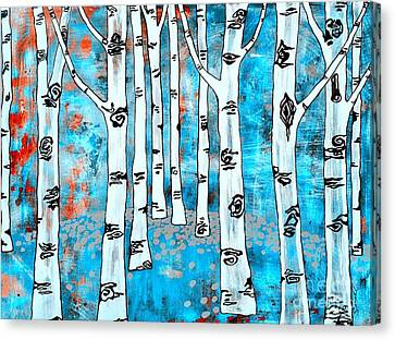 Blue Aspen Tree Canvas Print