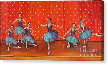 Dance Ballet Roses Canvas Print - Blue Ballerinas by Marlene Book