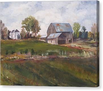 Blue Barn Canvas Print by Diane Daigle