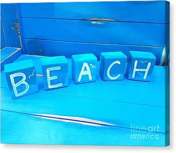 Blue Beach Blocks Canvas Print by Scott D Van Osdol