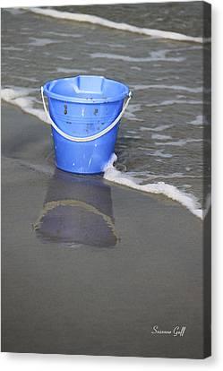 Beach Pails Canvas Print - Blue Beach Bucket by Suzanne Gaff
