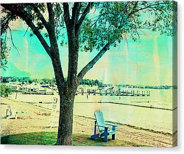 Blue Beach Chair Canvas Print by Susan Stone