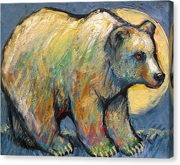 Blue Bear Grizzly Bear In A Full Moon Canvas Print