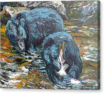 Canvas Print featuring the painting Blue Bears Fishing by Koro Arandia