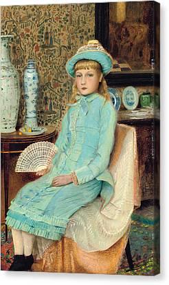 Blue Belle Canvas Print by John Atkinson Grimshaw