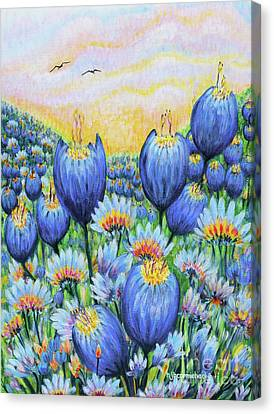 Canvas Print featuring the painting Blue Belles by Holly Carmichael