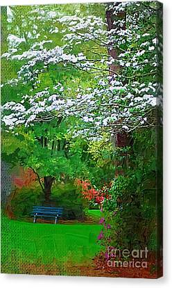Canvas Print featuring the photograph Blue Bench In Park by Donna Bentley