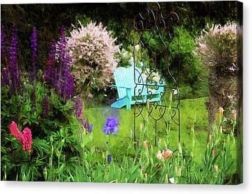 Blue Bench In The Garden Canvas Print