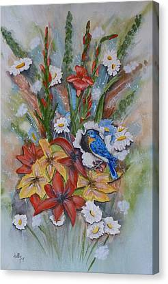 Blue Bird Eats Thru The Painting Canvas Print by Kelly Mills