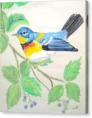 Snack Canvas Print - Blue Bird Of Happines  II by Nancy Rucker