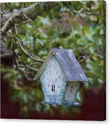 Blue Birdhouse Painterly Effect Canvas Print by Carol Leigh