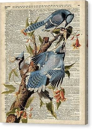 Blue Birds Vintage Illustration Dictionary Art Canvas Print by Jacob Kuch