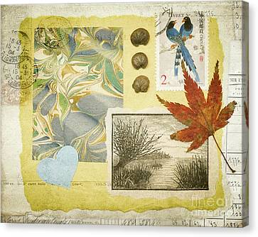 Canvas Print featuring the mixed media Blue Birds Collage by Jan Bickerton