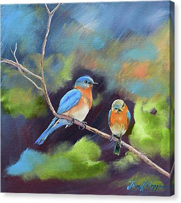 Canvas Print featuring the painting Blue Birds - Soul Mates by Jan Dappen