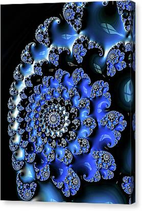 Blue Black And White Fractal Spiral Canvas Print by Matthias Hauser