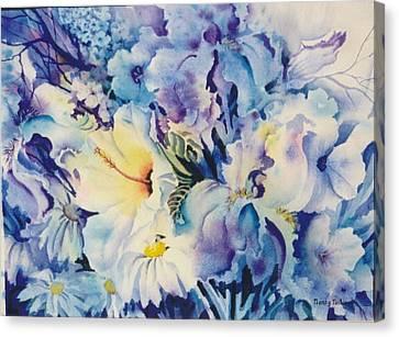 Blue-blossoms Canvas Print by Nancy Newman