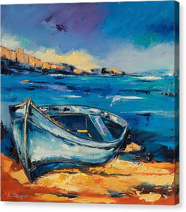 Beautiful Scenery Canvas Print - Blue Boat On The Mediterranean Beach by Elise Palmigiani