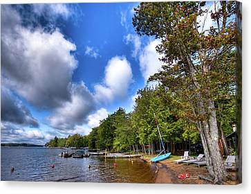 Adirondack Chairs On The Beach Canvas Print - Blue Boat On The Shore by David Patterson