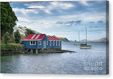 Blue Boat Shed Canvas Print