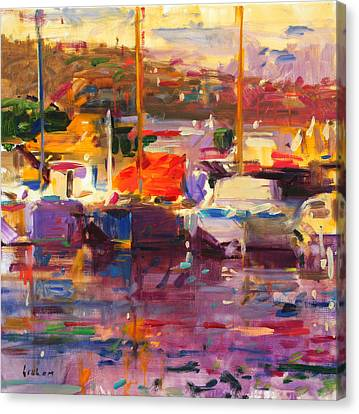 Boats In Water Canvas Print - Blue Boat  St Tropez  by Peter Graham