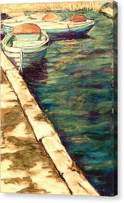 Blue Boats At Llangorse Wales Canvas Print by Judy Adamson