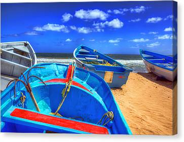 Blue Boats Canvas Print