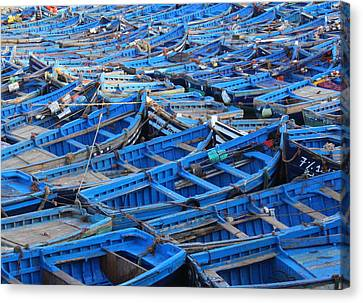Canvas Print featuring the photograph Blue Boats Of Essaouira by Ramona Johnston