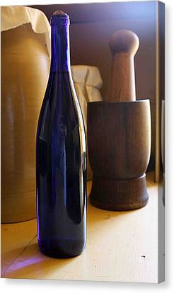 Blue Bottle And Mortar Canvas Print