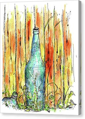 Canvas Print featuring the painting Blue Bottle by Cathie Richardson