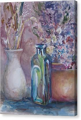Blue Bottle Canvas Print by Dorothy Herron