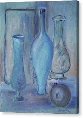 Blue Bottles  Canvas Print by Michel Croteau