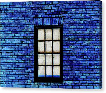 Canvas Print featuring the digital art Blue Brick by Robert Geary