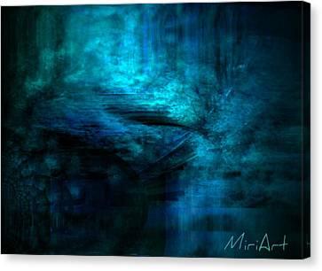 Blue Bridge Abstract Canvas Print by Miriam Shaw