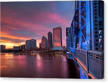 Blue Bridge Red Sky Jacksonville Skyline Canvas Print by Debra and Dave Vanderlaan