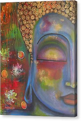 Canvas Print featuring the painting Buddha In Blue Meditating  by Prerna Poojara