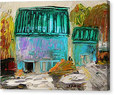 Blue Buildings Together-musing Canvas Print by John  Williams