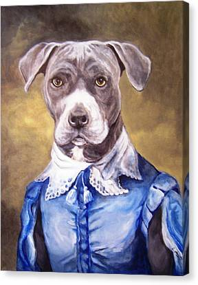 Canvas Print featuring the painting Blue Bully Boy by Laura Aceto