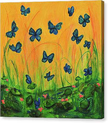 Blue Butterflies In Early Morning Garden Canvas Print
