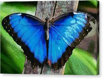 Blue Butterfly - Monet Style Canvas Print by Leonardo Digenio